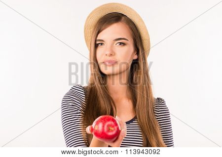 Sexy Pretty Girl With Hat And Apple