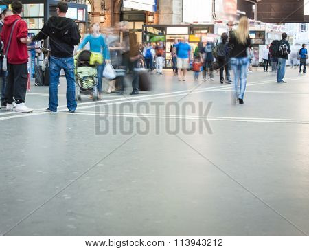 People walking on street and subway