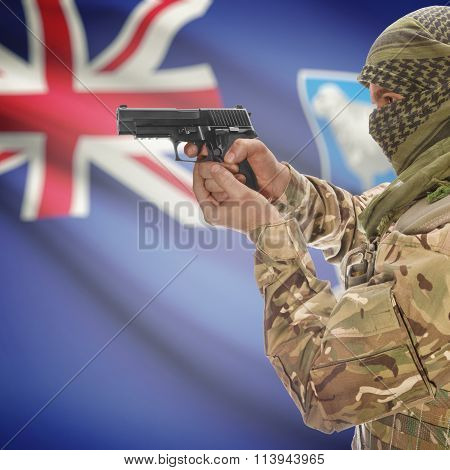 Male In With Gun In Hand And National Flag On Background - Falkland Islands