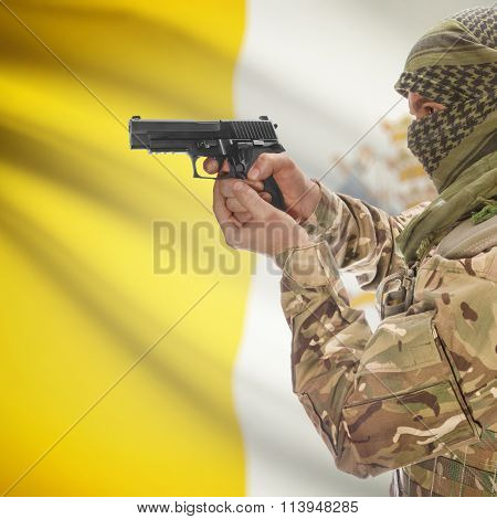 Male In With Gun In Hand And National Flag On Background - Vatican City State