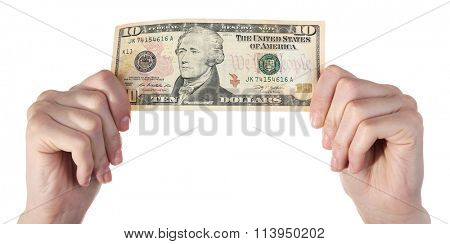 Hands holding ten dollar banknote, isolated on white