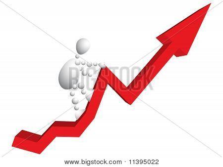 Man Climbs A Mountain As Red Arrow-diagram