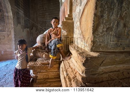 An unidentified Myanmar children in Old Pagodas at Bagan,Myanmar.