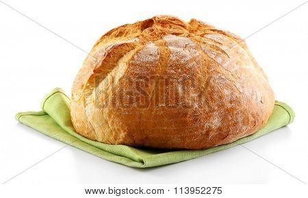 Bread on napkin isolated on white