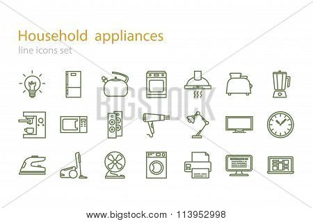 Line icons set. Household appliances. Stock vector.