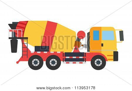 Building under construction crane machine technics vector illustration