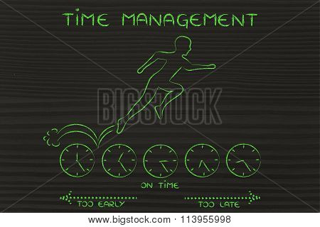 Person Running On Clocks & Being On Time, With Text Time Management