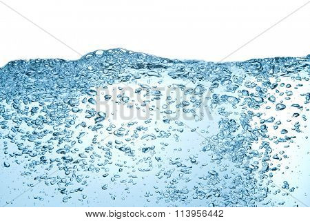 closeup of bubbles in blue water