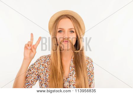 Funny Girl Joking And Showing Peace Sign