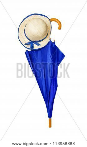Umbrella And Hat Isolated On White Background
