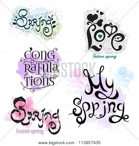 Spring calligraphy logo. The drawing icon. Ink stamp.