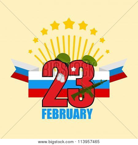 23 February. Greeting Card. Soldiers Helmet And Green Beret. Machines Guns And Military Badge. Salut