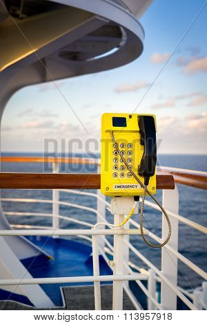 Emergency Phone On The Deck Of A Cruise Ship