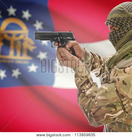Male In With Gun In Hand And Flag On Background - Georgia