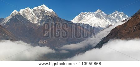 Mount Everest, Nuptse Rock Face, Lhotse And Lhotse Shar