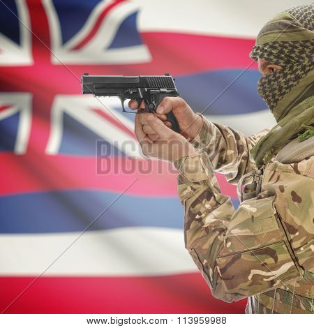 Male In With Gun In Hand And Flag On Background - Hawaii