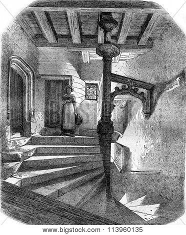 The Steps Psalette in Nantes, vintage engraved illustration. Magasin Pittoresque 1870.