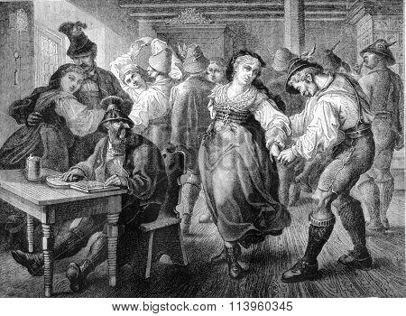Dance scene in a hostel of Bavaria, vintage engraved illustration. Magasin Pittoresque 1870.