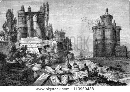 Dovecotes and ruins of a cemetery, near Isfahan, vintage engraved illustration. Magasin Pittoresque 1870.