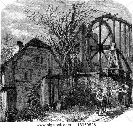 The Mill of Mitschdorf, Bas-Rhin, vintage engraved illustration. Magasin Pittoresque 1870.