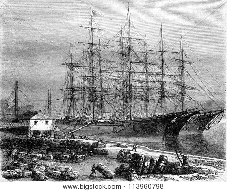 Cotton boarding Savannah, Georgia, vintage engraved illustration. Magasin Pittoresque 1870.