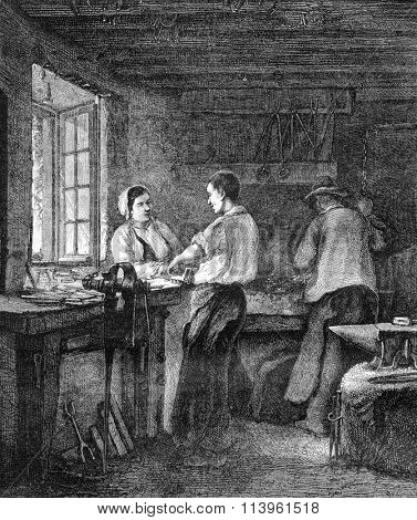 A Locksmith Shop, vintage engraved illustration. Magasin Pittoresque 1870.