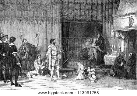 Entertainment Louis XI, vintage engraved illustration. Magasin Pittoresque 1870.