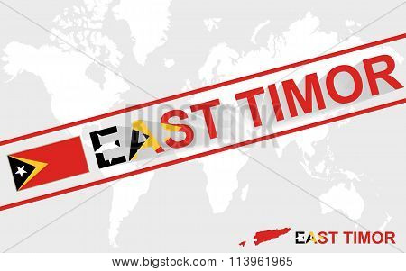 East Timor Map Flag And Text Illustration
