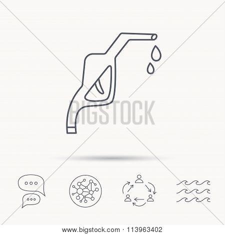 Gasoline pump nozzle icon. Petrol station sign.