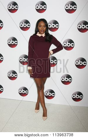 LOS ANGELES - JAN 9:  Aja Naomi King at the Disney ABC TV 2016 TCA Party at the The Langham Huntington Hotel on January 9, 2016 in Pasadena, CA