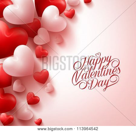 Red Hearts and Sweet Happy Valentines Day Title Text in White Background