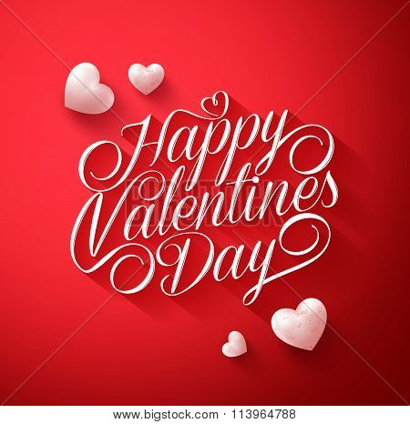appy Valentines Day Typography Title in Red Background with Long Shadow