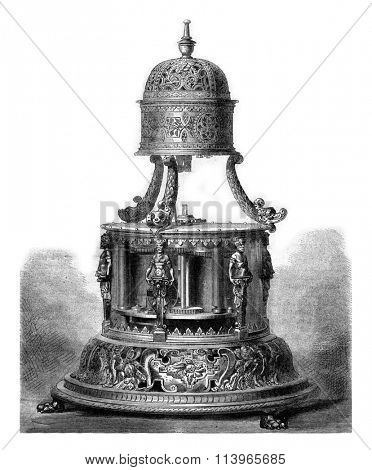 Table clock the sixteenth century, with horizontal movement, vintage engraved illustration. Magasin Pittoresque 1869.