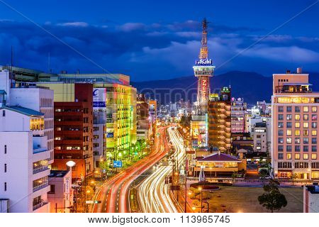 BEPPU, JAPAN - DECEMBER 13, 2015: Downtown Beppu at Beppu Tower. The city is well known for hot springs resorts.