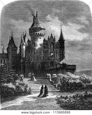 Castle Bourbon Busset, Allier, vintage engraved illustration. Magasin Pittoresque 1869.