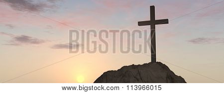 Concept or conceptual cross religion symbol shape over sunset sky with clouds background banner