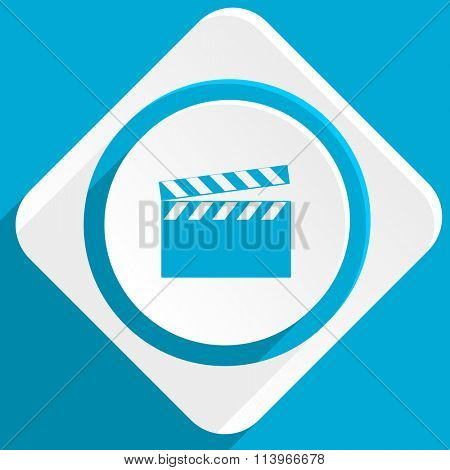 video blue flat design modern icon for web and mobile app