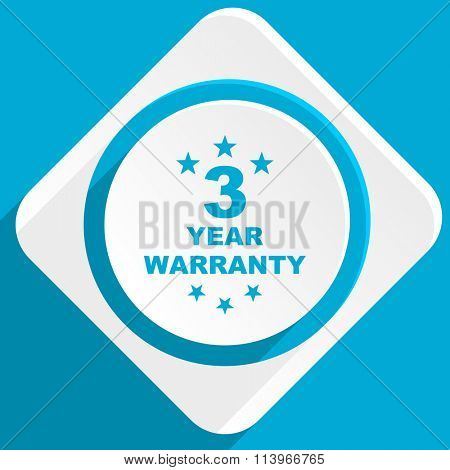 warranty guarantee 3 year blue flat design modern icon for web and mobile app