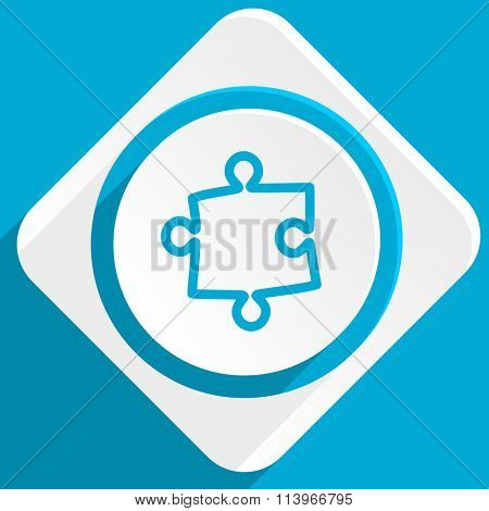 puzzle blue flat design modern icon for web and mobile app