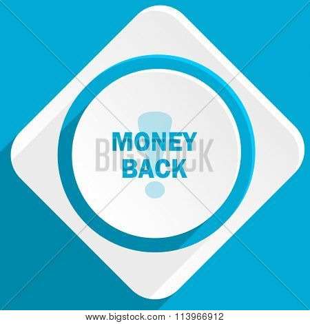 money back blue flat design modern icon for web and mobile app