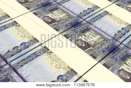 South Sudanese pounds bills stacked background. Computer generated 3D photo rendering.