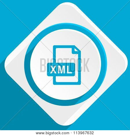 xml file blue flat design modern icon for web and mobile app