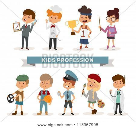 Set of cute cartoon professions kids