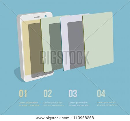 Smartphone user interface clear template. Vector Illustration.