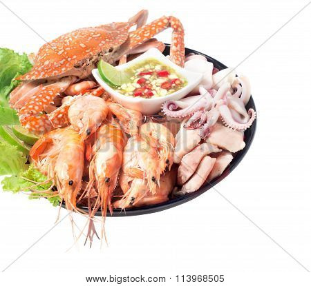 Seafood Mixed With Spicy Sauce Thai Food Traditional Isolated On White