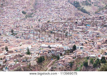 Aerial view of Cuzco cityscape. Peru