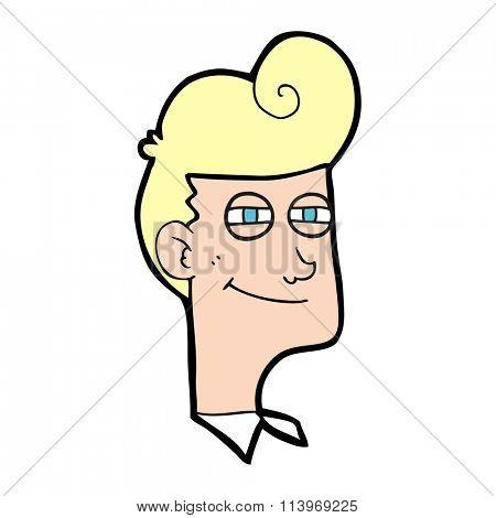 freehand drawn cartoon smiling man