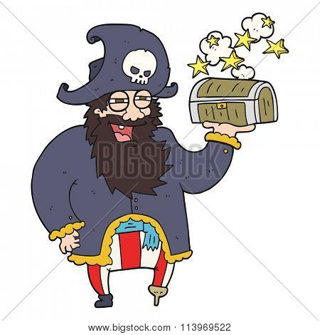 freehand drawn cartoon pirate captain with treasure chest