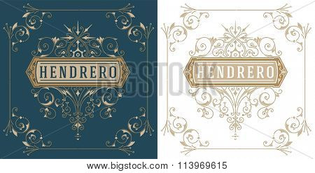 Vintage logo and frame template