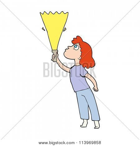 freehand drawn cartoon woman searching with torch